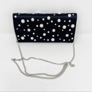 Nordstrom Black Pearl Gem Clutch Evening Bag